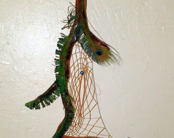 Unique Peacock feather Dreamcatcher on natural manzanita wood with Two Webs