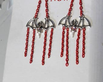 CLEARANCE      Silver plated Halloween Bats hanging on Blood Red Chains