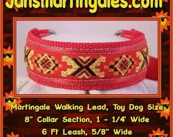 "Jansmartingales, Dog Collar Leash Combination Walking Lead,  Italian Greyhound, Tiny Dog Size, 8"" Collar Section. ired116"