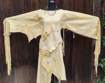Buckskin Ceremonial Dress - Deerskin Powwow Regalia. Wrap Skirt & Fringe Top, Native American Deerskin Regalia, Leather Wedding Dress, Small