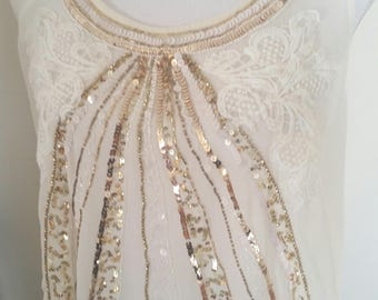 gold beaded top, sequins beads, 90s does 20s, upcycled gatsby top, beige lace evening top, art deco look