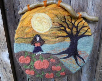 Harvest Moon Pumpkins- Felted Wool Wall Hanging