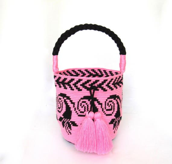 Exceptional Flower bucket bag single tread Wayuu mochila handmade tote