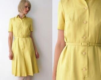 60s dess. belted yellow silk dress. 60s shirtwaist dress. 60s silk dress by Otto Graf - medium