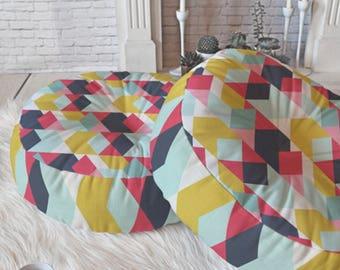 Geometric Floor Pillow // Round & Square // Modern Living // Home Decor // Floor Cushion // Dorm Decor // Tribeca Design // Bold Colors
