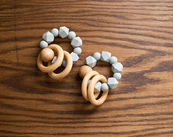 Teething Rattle - Neutral Gray - Fall Winter Collection