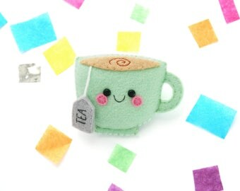 Mint Teacup Felt Badge, Green Coat Accessory, Fun Badge, Handsewn Tea Pin