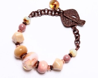 Pink Art Bead Bracelet, Handmade Bracelet, Boro Glass Jewelry, OOAK Jewelry, Chunky Art Bead Glass