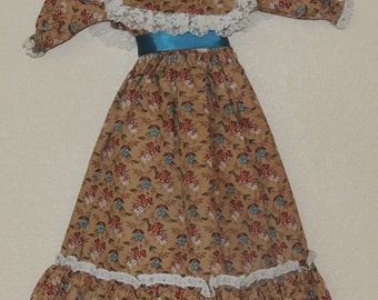 21-22 inch Doll CALICO Victorian Style Dress