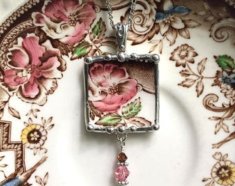 Broken china jewelry - necklace pendant - antique aesthetic brown transferware pink rose made from a recycled broken plate