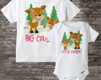 Set of Two, Personalized Big Cousin and Little Cousin doe deer Shirt and Onesie, Pregnancy Announcement 09032013j