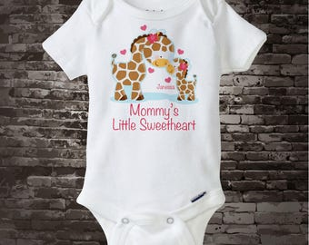 Girls Valentine's Day Personalized Mommy's Little Sweetheart Giraffe Shirt or Onesie 02272013b1