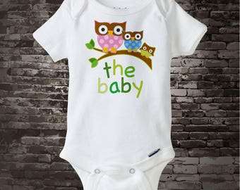 Personalized Neutral The Baby Onesie or Tee Shirt with three owls on a branch 06052013a