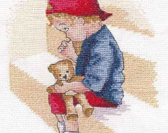 """Faye Whittaker All Our Yesterdays - THE NAUGHTY STEP Cross Stitch Kit 5"""" x 7"""", counted cross stitch, naughty boy kit"""