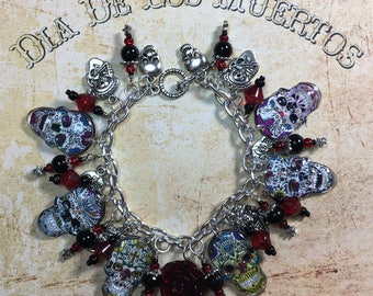 Day Of The Dead Sugar Skull Charm Bracelet