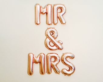 Mr and mrs balloons etsy for Mr and mrs letter balloons