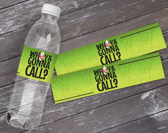 Ghost-buster Party Water Bottle Wrappers, Ghost-buster Birthday Party, Bottle Wraps | DIY Instant Download PDF Printable Kit