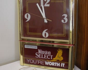 Vintage Winston Light Up Clock - Cigarette Advertising
