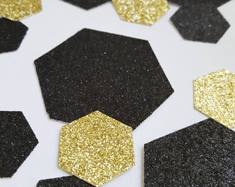 Black and Gold Glitter Confetti - Hexagon/Honeycomb shape confetti - Gold and Black Party/Wedding/Graduation/Event Decoration/Table Scatter