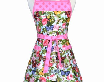 50s Style Retro Apron - Cottage Garden Pink Butterfly Floral Womans Vintage Cute Housewife Kitchen Apron to Monogram Embroidery (DP)