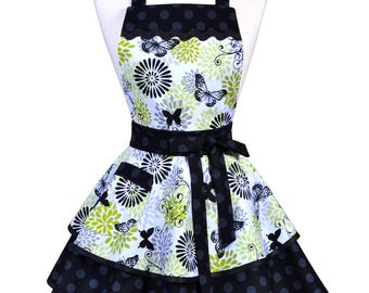 Womens Ruffled Retro Apron - Lime Green Black Butterflies Womans Vintage Style Pinup Kitchen Apron to Personalize or Monogram (DP)