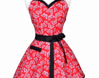 Sweetheart Womens Retro Apron in Sexy Black Red Butterflies Flirty 50s Kitchen Apron with Personalized Monogram Option (DP)