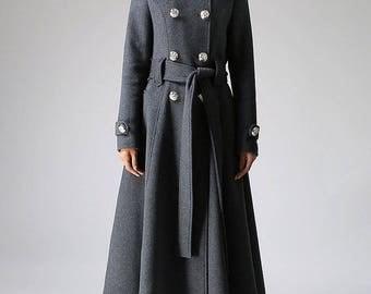 double breasted coat,Military Coat, wool coat, Gray coat,Long coat, womens coats, trench coat,Custom made clothing,overcoat,gift ideas 1072