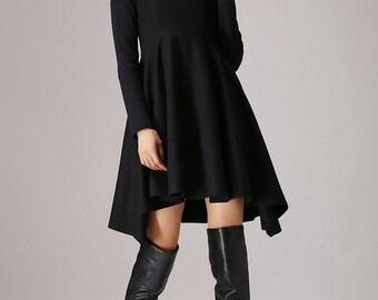 Cocktail Dress, Little Black Dress, Party Dress, Dresses,Womens Dresses, Dress, Black Cocktail Dress, Sexy Dress, Woman Dress, Wool Dress767