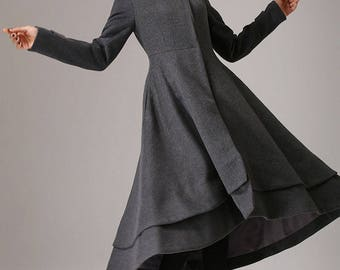 Swing coat, womens coats, gray coat, wool coat, plus size coat, long coat, winter coat, high collar, high low coat, handmade coat (761)