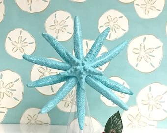 Starfish Tree Topper - Aqua Natural Starfish Glittered  - Beach Christmas Decoration Beach Star fish Nautical