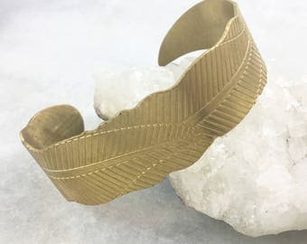 Brass Leaf Pattern Cuff Bracelet | Adjustable | Nature | Boho Cuff | Everyday Wear