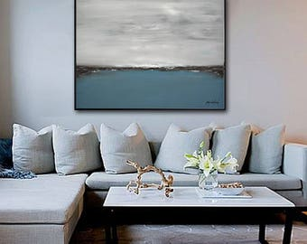 Large Landscape Original Oil Painting Modern Art Contemporary Seascape Abstract Art Handmade Blue Ocean Wall Art Acrylic Painting by Whitman
