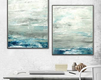 Set of 2 Abstract Original Paintings Diptych Art Two Piece Gray Artwork Contemporary Art Oil Paintings Wall Art - Sky Whitman