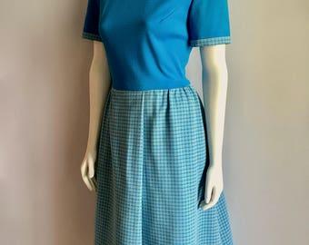 Vintage Women's 60's Mod Dress, Blue, White, Short Sleeve, Knee Length (L)