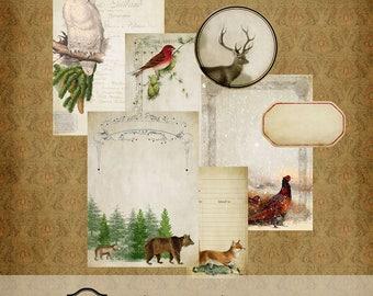 Vintage Winter Journal Kit Printable Digital Download