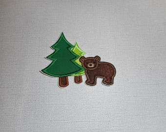 Free Shipping Ready to Ship Bear in the forest Machine Embroidery iron on applique