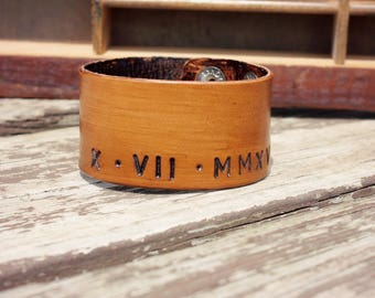 Men's Leather Roman Numeral Wide Cuff Bracelet, Special Dates Real Leather Snap Cuff Bracelet for Men, Third Year Anniversary Gift
