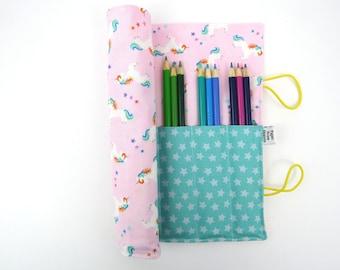 Pencil Case - Rainbow Unicorn - pencil case, marker holder, art accessory, Bible journaling, adult coloring