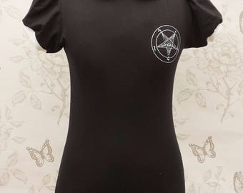 Black jersey tunic dress , white peter pan collar and withcy baphomet symbol