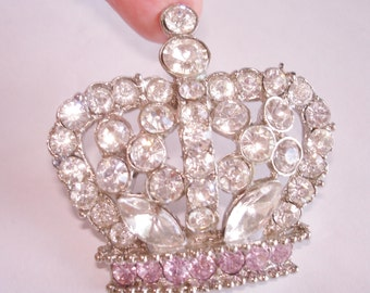 Signed Crown Clear Pink Clear Rhinestone Brooch Silver  Tone