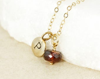 January Garnet Birthstone Necklace - Initial Charm - Gold or Silver