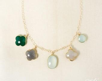 Gold Whimsical Green Onyx, Grey Chalcedony Clover & Aqua Chalcedony Bib Necklace - Multi-Gemstone Bib Necklace - One of a kind