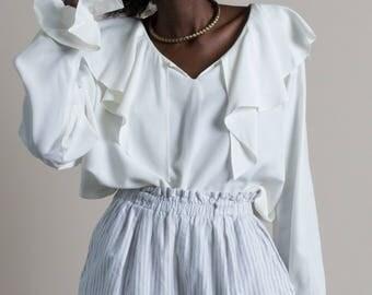 Vintage 90s White Romantic Ruffle Blouse