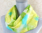 New Springtime Floral Silk Scarf in Yellow, Aqua and Lime with Gold Accent, Mother's Day Gift, Ready to Ship