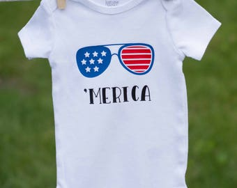 4th of July Outfit / 'Merica Baby / Patriotic Outfit / 4th of July Baby / Indepence Day / Patriotic Baby / Patriotic Onesie / Patriotic Girl