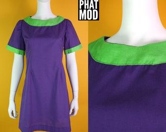 Cool Vintage 90s does 60s Mod Purple & Green Color Block Cotton Mini Dress