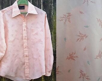 Mens Shirt, 70s Shirt, Long Sleeve Shirt, Vintage Shirt, Sears Shirt, Print Shirt, Vintage Costume, 70s Costume, Peach Shirt, Sears Roebuck