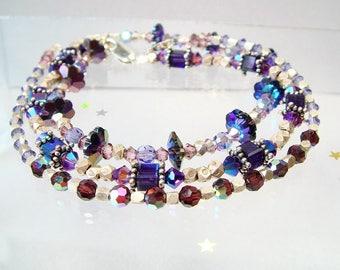 Hill Tribe & Swarovski Crystal Bracelet, Fine Silver, Margaritas, Shades of Purple Stacking, Layering Silver Bracelet