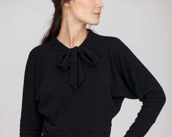 Autumn sweater | Evening sweater | Black bow sweater | LeMuse autumn sweater