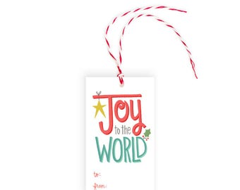 Joy to the World Gift Tag | Pack of 10 | Christmas or Holiday Gift Tag | Made in USA